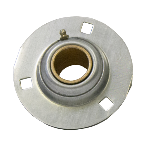 Stamped Steel Bearing Ball Sintered Bronze Bushing 3 Bolt Flange Bearing, 14 Gauge - 1 1/2""