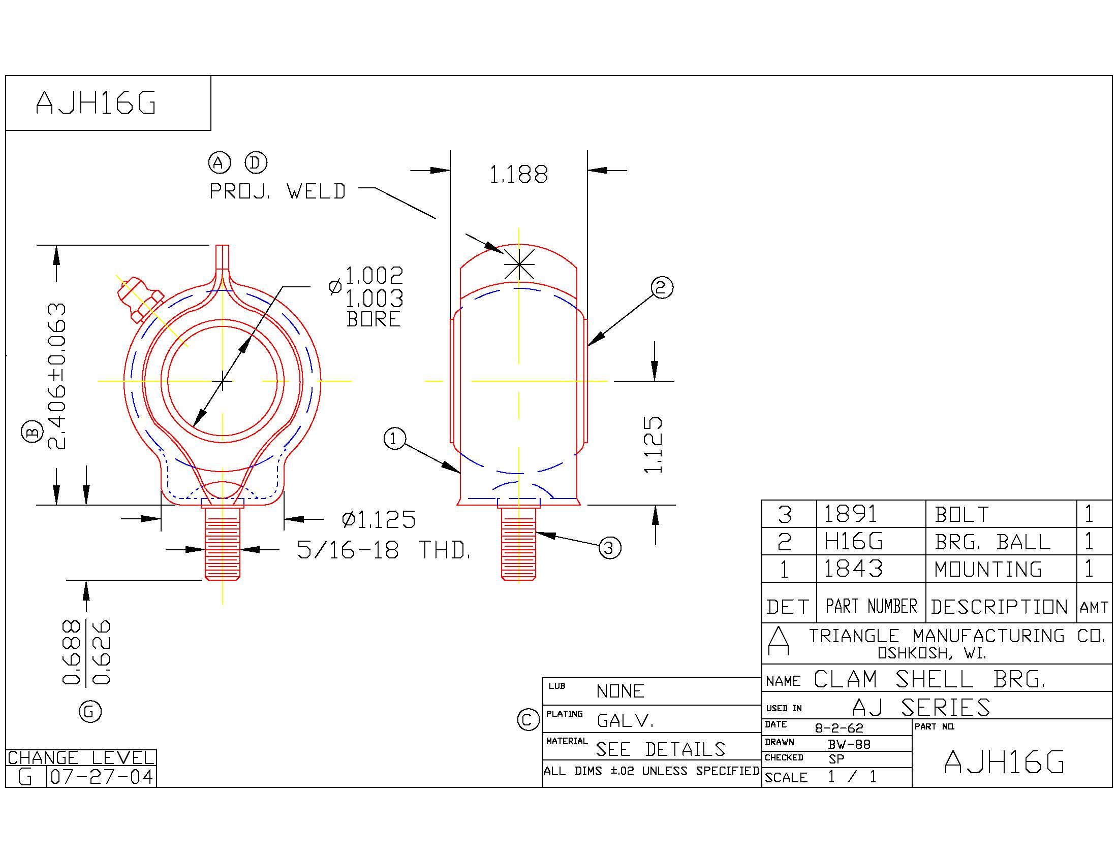 Clamshell Bearing AJH16G