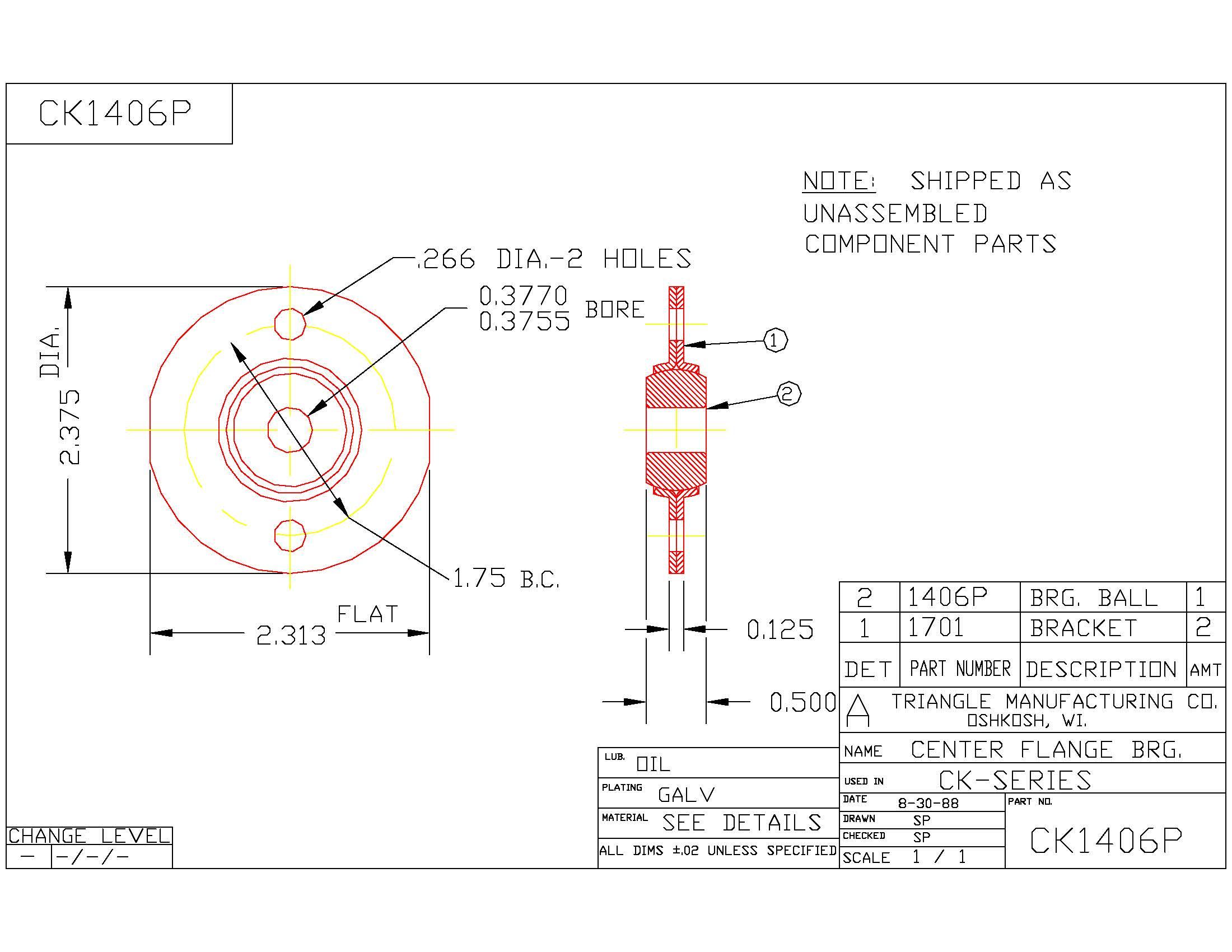 Flange Bearing CK1406P