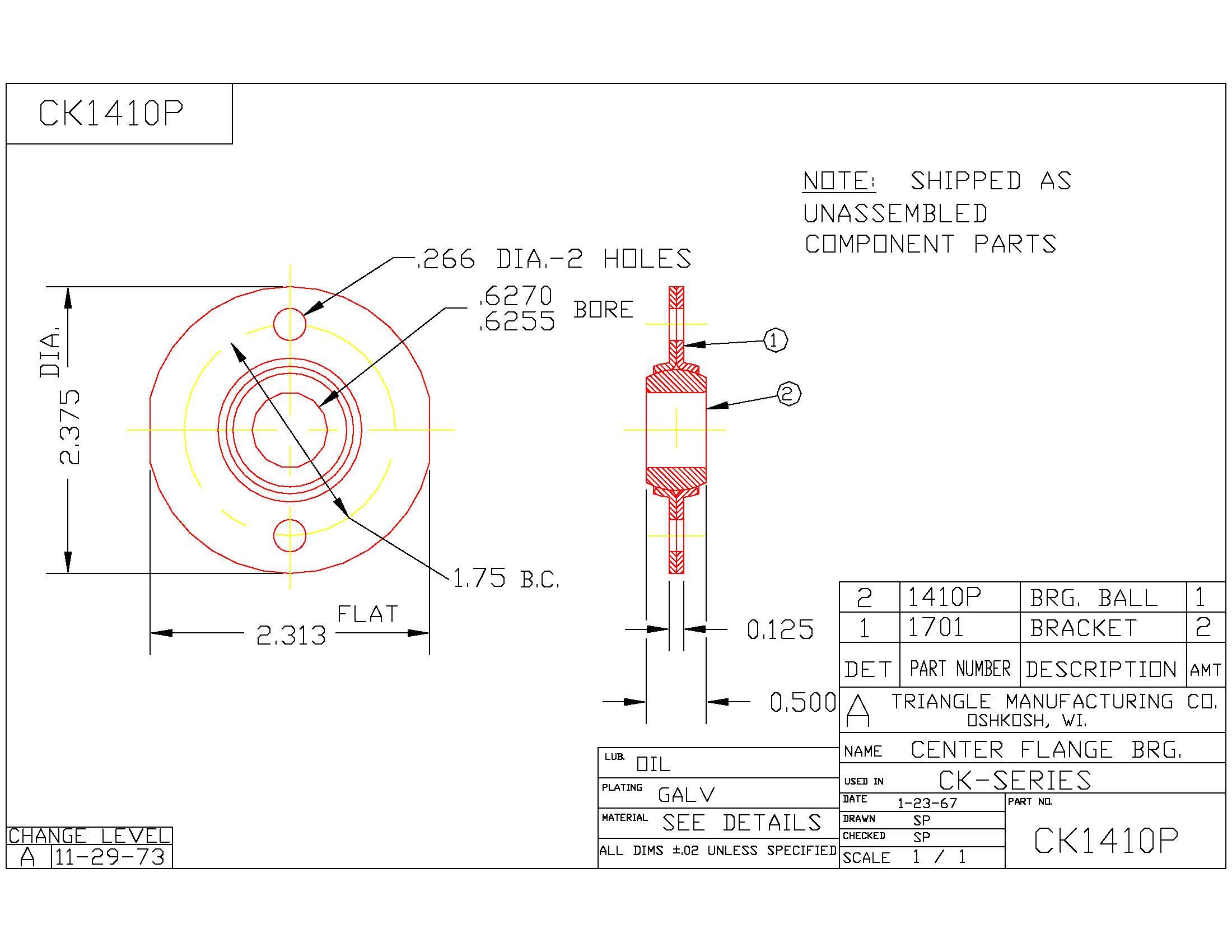 Flange Bearing CK1410P