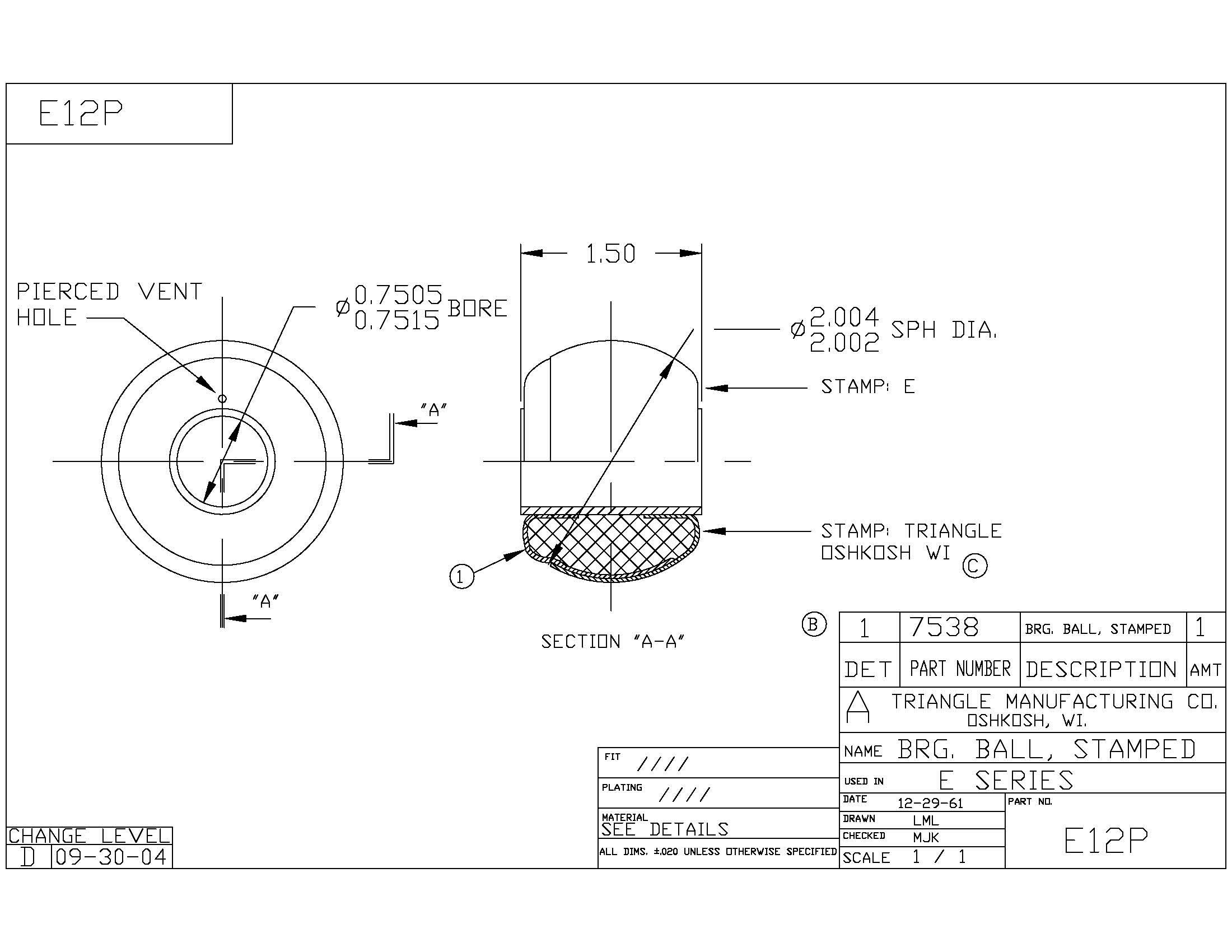 Spherical Plain Bearing E12P