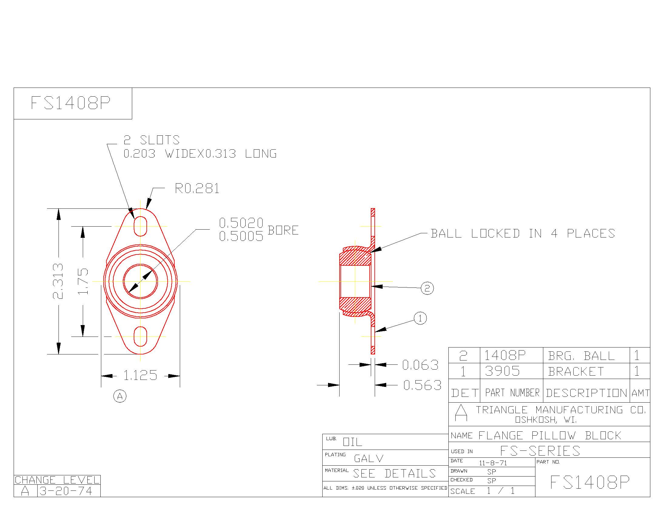 Flange Bearing FS1408P