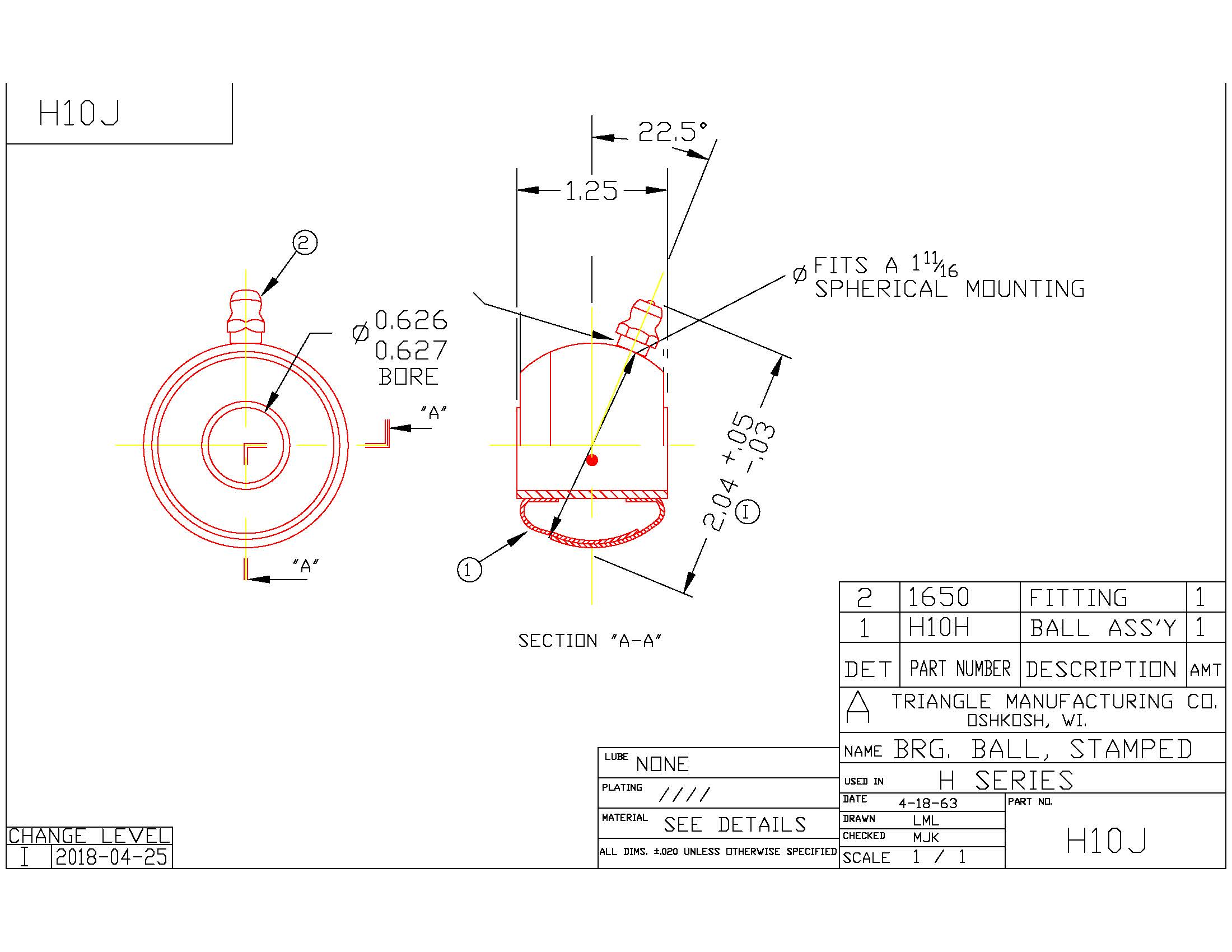 Spherical Plain Bearing H10J