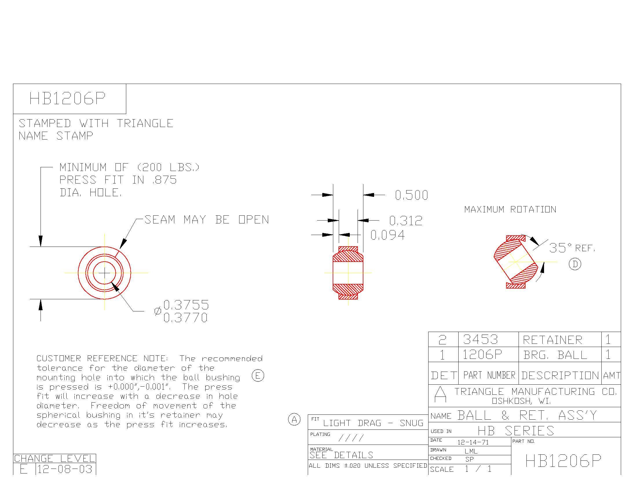Spherical Plain Bearing HB1206P