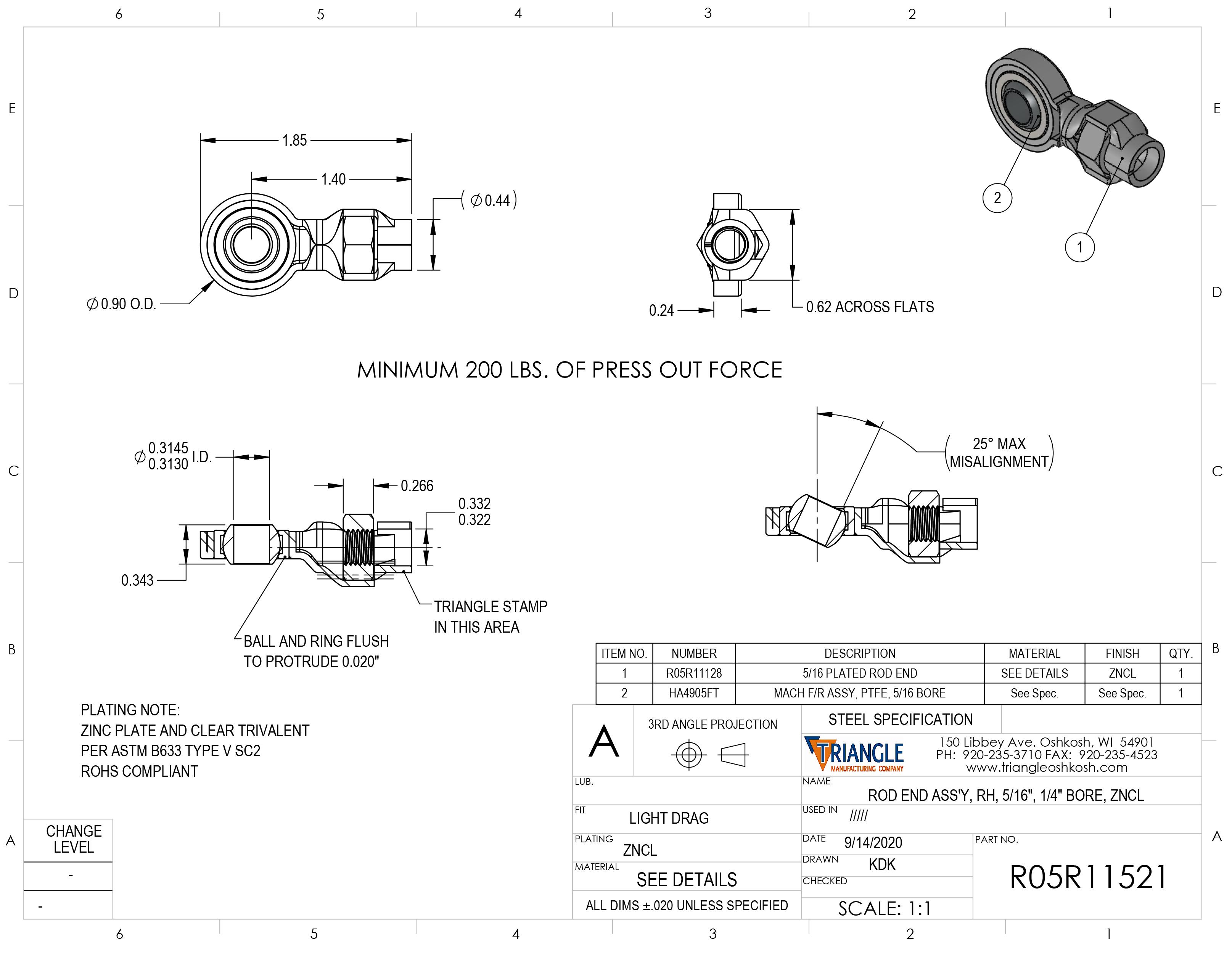Spherical Rod End Bearing Heim Joint R05R11521