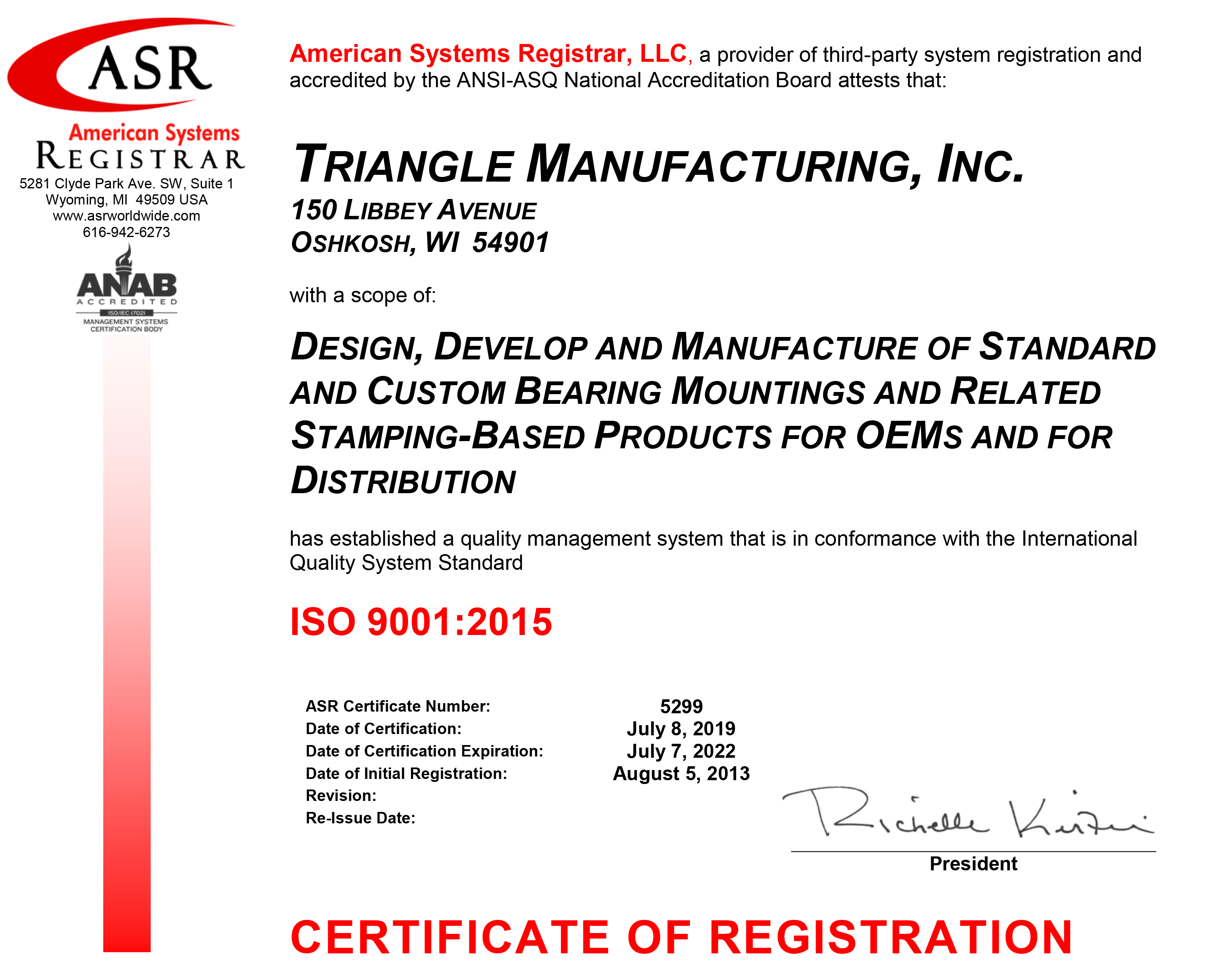 Triangle ISO 9001 Certificate
